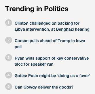 Trending stories on Fox News.